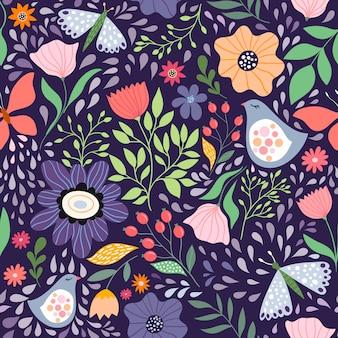 花と鳥のシームレスパターン