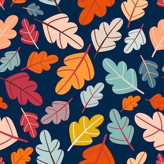 Осенний бесшовный узор с разноцветными листьями