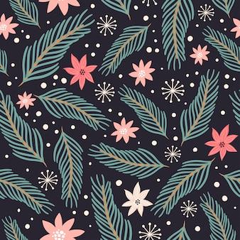 松の枝とクリスマスのシームレスパターン