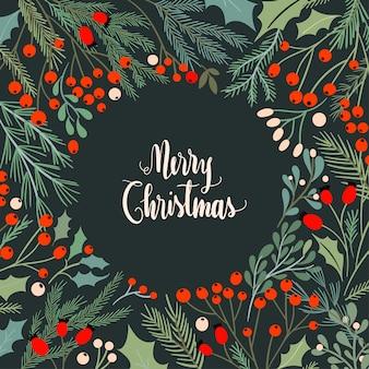 季節のフレーム付きのクリスマスカード