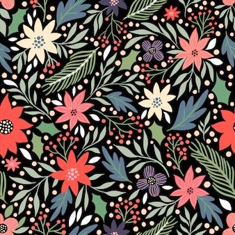 季節の花とクリスマスのシームレスパターン
