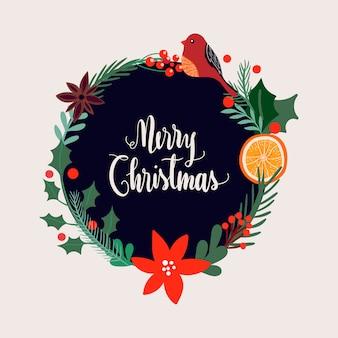 フローラルリースとクリスマスカードのデザイン