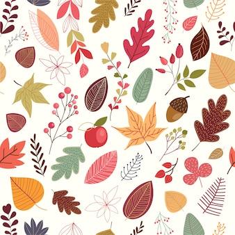 Осенний бесшовный узор с декоративными листьями и растениями