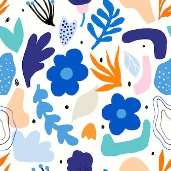 花の形を切り取って装飾的な抽象的なシームレスパターン
