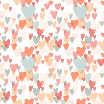 Бесшовные фон с разными сердцами, пастельных тонах
