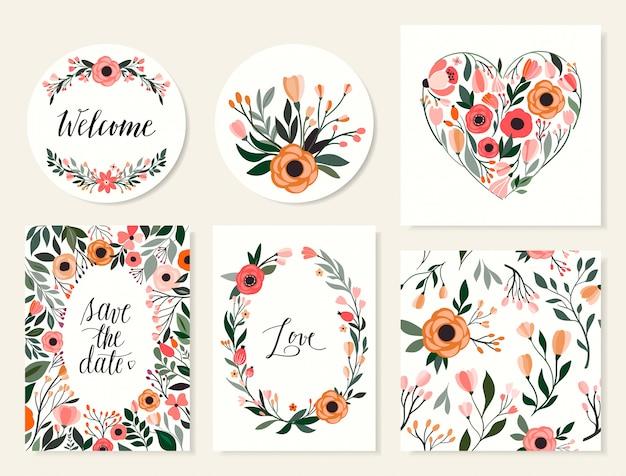 結婚式のカードコレクション、日付の招待状、花とのシームレスなパターンを保存