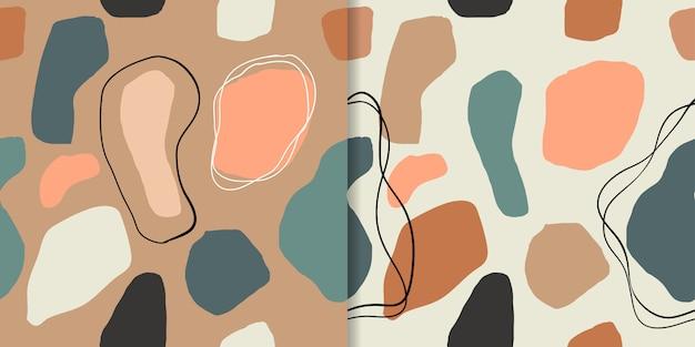 幾何学的形状、異なるデザインの抽象的なシームレスパターン