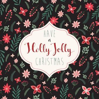 花柄のデザインのクリスマスのグリーティングカード
