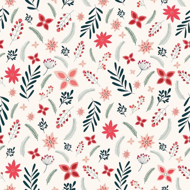 花の装飾的な要素とクリスマスのシームレスパターン