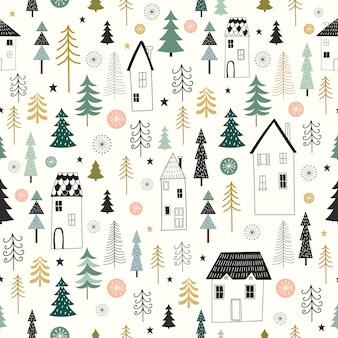 Зимний бесшовный узор с декоративным, сезонным дизайном