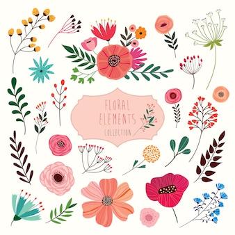 花の要素のコレクション。花と植物の大コレクション