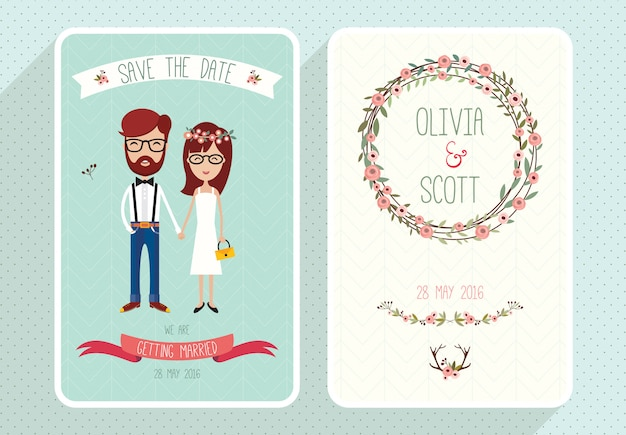 素朴な結婚式の招待状の面白い文字セット