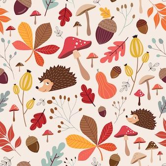 Осенний бесшовный узор с сезонными элементами