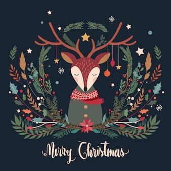 鹿と装飾的な季節の枝を持つクリスマスのグリーティングカード