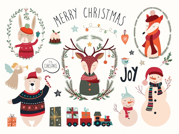 Рождественская коллекция элементов с оленями и сезонными рисованной элементами