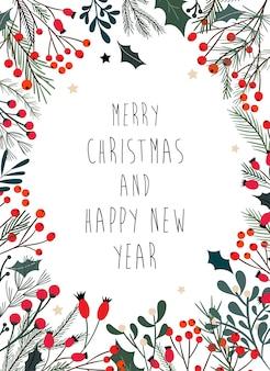 装飾的な枝、ヤドリギと果実のクリスマスフレーム