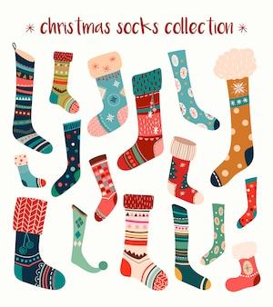 クリスマスソックスコレクションと手描きの季節の要素