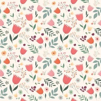 花、ベクターデザインと装飾的なシームレスパターン