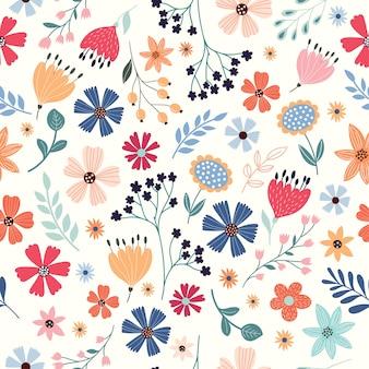 色とりどりの花でシームレスなパターン