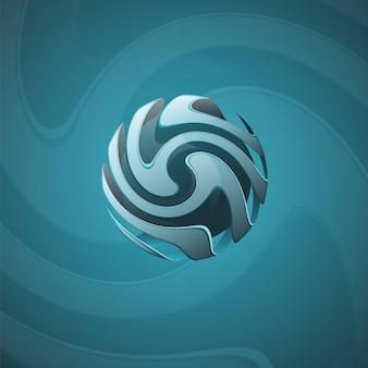 らせん球の抽象的な線