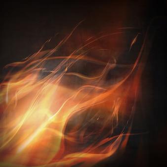 黒の背景に抽象的な火の炎。カラフルなイラスト