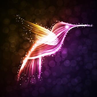 Неоновый фон колибри