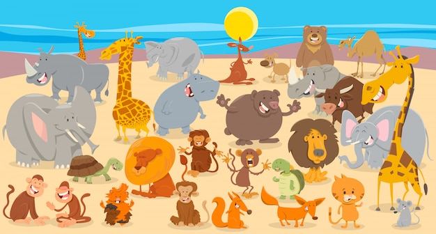 Иллюстрации шаржа животных группы фона