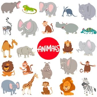 Иллюстрации шаржа животных символов большой набор