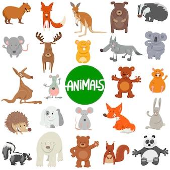 野生動物のキャラクターセットの漫画イラスト
