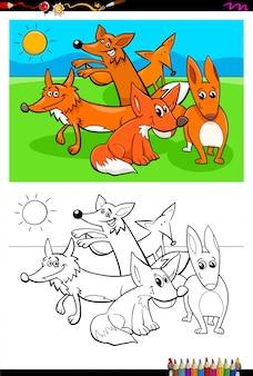 Раскраска мультфильм лисы животных