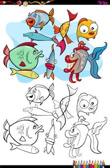 魚の動物の塗り絵の漫画イラスト