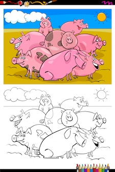 Свиньи фермы животных персонажей группы цветовой книги