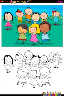 幸せな子供たちのキャラクターグループ塗り絵