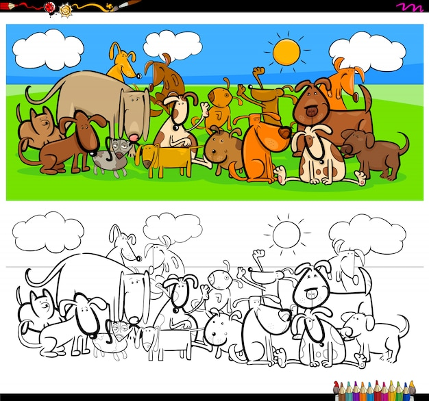 犬の動物キャラクター大グループカラーブック