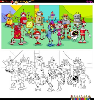 Раскраска группы персонажей роботов