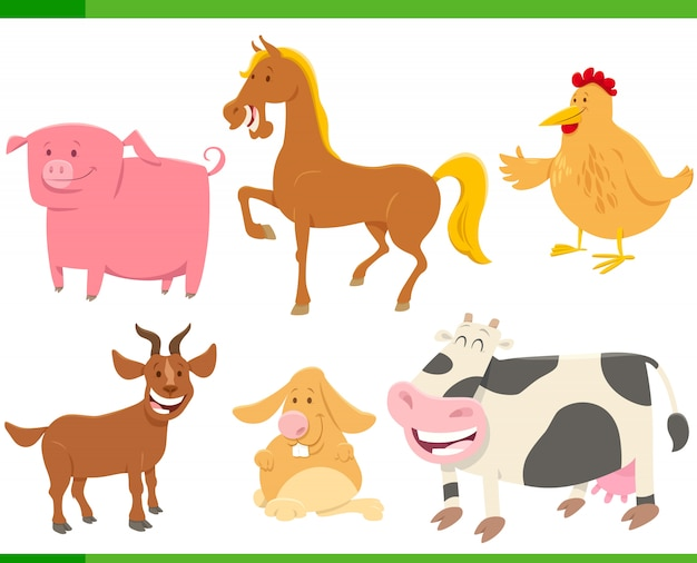 漫画面白い農場の動物キャラクターセット