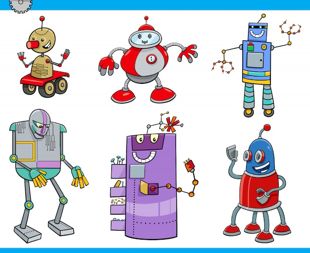 Набор персонажей мультфильма роботов или дроидов