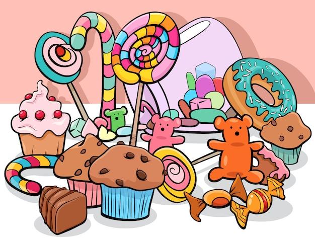 Сладкая еда объекты группы мультфильм иллюстрации