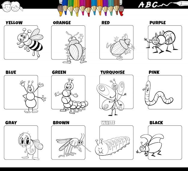 Основные цвета с насекомыми для раскраски