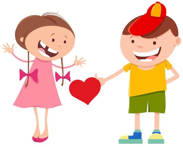 Милый мультфильм девочка и мальчик пара с сердцем