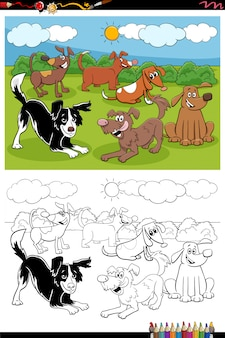 Раскраска мультяшная группа собак