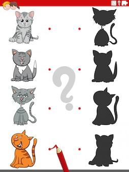 面白い猫のキャラクターとの影のゲーム