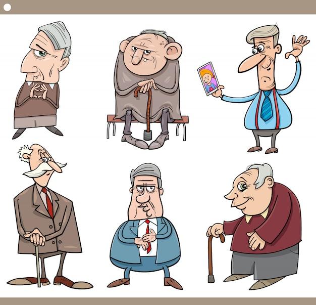 Пожилые люди персонажи из мультфильма иллюстрации набор