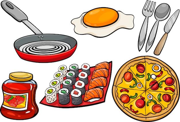 キッチンと食品オブジェクト漫画セット