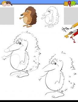 ハリネズミの動物の描画と色付けワークシート