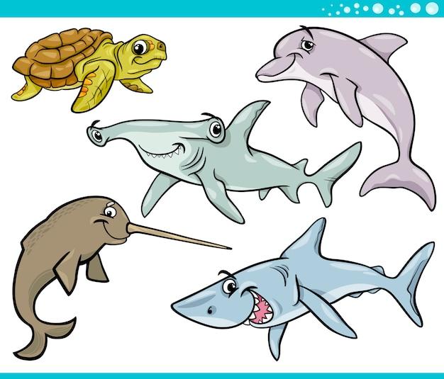 Морская жизнь животных установить мультфильм иллюстрации