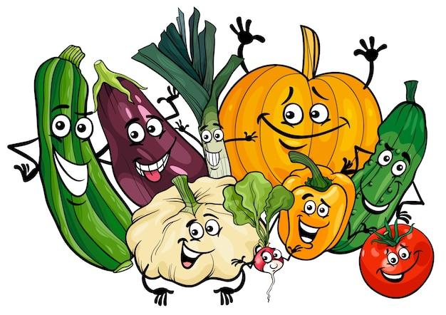 野菜の文字グループの漫画のイラスト