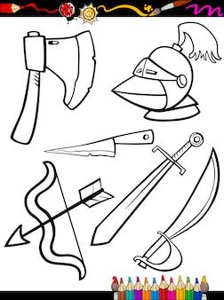 漫画の武器オブジェクトのページを着色
