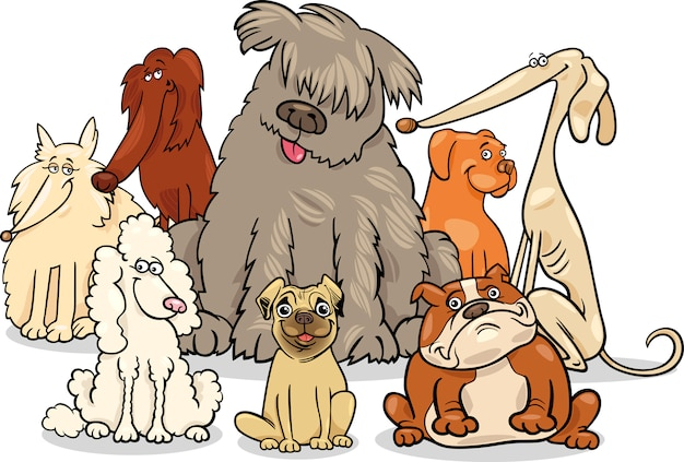 漫画の純粋な犬のグループ