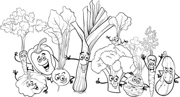 Мультяшные овощи для раскраски